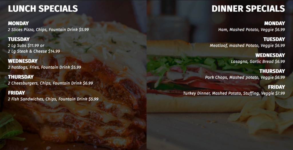 Canaan Only Lunch & Dinner Specials